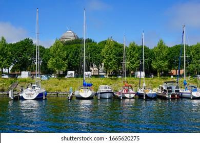 Veere, The Netherlands - june 25 2018; The berths of Marina Veere in the Canal through Walcheren