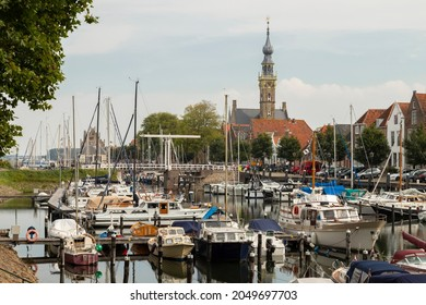 Veere, The Netherlands, September 26, 2021; Marina of the small and beautiful town of Veere in the province of Zeeland.