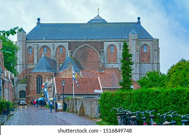Veere, in the region of Walcheren in the province of Zeeland, Netherlands, view of church Grote Kerk