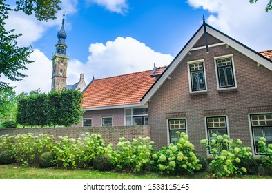 Veere, in the region of Walcheren in the province of Zeeland, Netherlands, tower of gothic town hall building