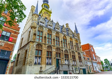 Veere, in the region of Walcheren in the province of Zeeland, Netherlands, gothic town hall building