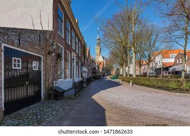Veere - View to huge Tower of the City Hall, Zeeland, Netherlands, 19.03.2018