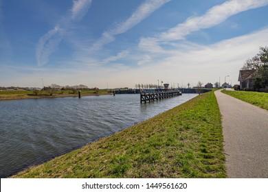 Veere - View to huge Watergate, Zeeland, Netherlands, 19.03.2018
