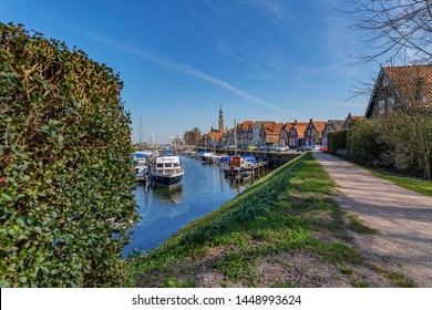 Veere - View to Marina and historic buildings at Veere, Zeeland, Netherlands, 19.03.2018