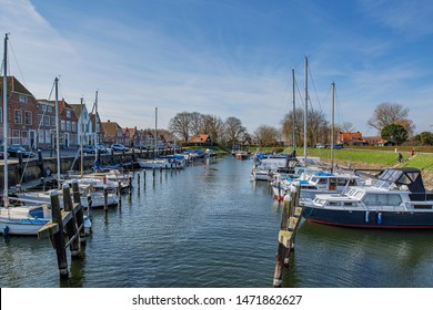 Veere - View to Marina with sail boats towed, Zeeland, Netherlands, 19.03.2018