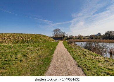 Veere - View to  Skyline of Veere with the Tower of the City Hall and the cathedral, Zeeland, Netherlands, 19.03.2018