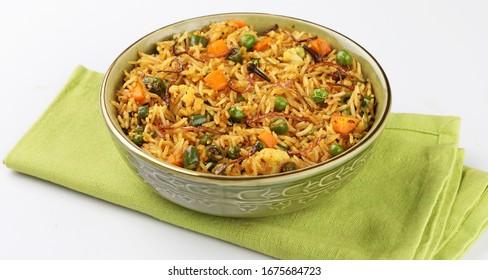 Veg biryani or veg pulav, Fried rice indian food