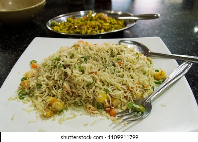 the veg fried rice on the plate