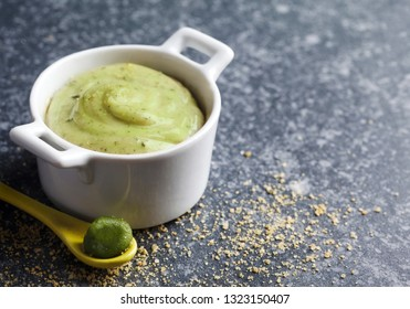 Vegan almonds mayonnaise with wasabi, copy space
