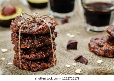 vegan avocado cashew butter oats chocolate cookies. toning. selective focus