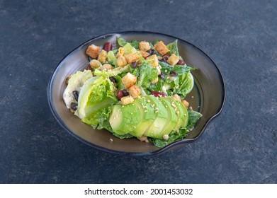 Vegan Avocado Ceasar Salad isolated