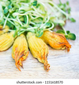 Vegan Baked Zucchini Flowers Stuffed With Herbed Cashew Cheese Topped With Sunflower Sprouts- Tasty, Healthy, Nutritious, Filling, Fresh, Pesticide/ Cruelty Free Lunch, Dinner or Snack. Square Format.