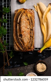 Vegan banana tahini and chocolate  bread.style vintage .selective focus