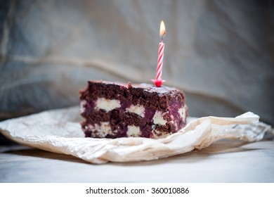 Vegan birthday cake with candle