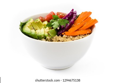 Vegan Buddha bowl with fresh raw vegetables and quinoa isolated on white background.