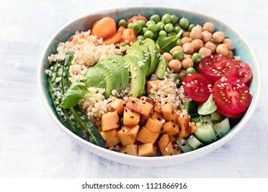 Vegan buddha bowl. Healthy  and balanced food concept