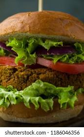 Vegan burger close up