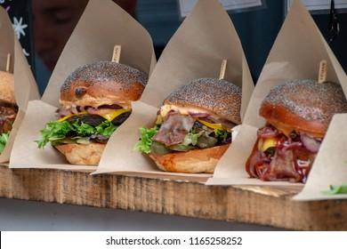 Vegan Burger Display at a Take Away stall in London's Borough Market UK