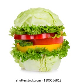 Vegan burger isolated on white background. Pure organic fresh vegetarian vegetable hamburger concept.