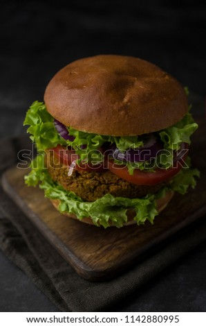 Vegan burger on the table