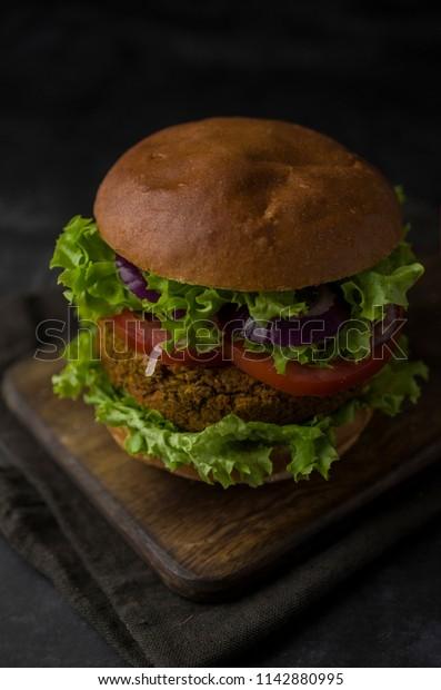 Vegan burger on the table