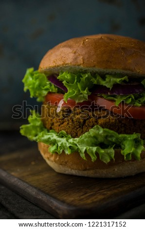 Vegan burger with vegetables