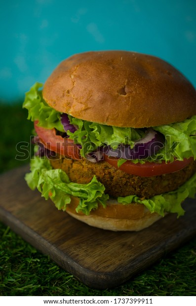 Vegan burger with vegetables and onion