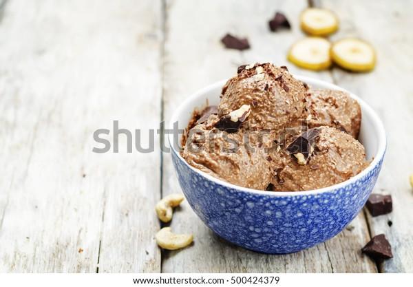 vegan chocolate banana cashew ice cream. toning. selective focus