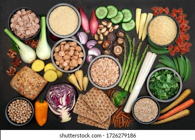 Vegan cruelty free health food for ethical eating concept with foods high in protein, vitamins, minerals, omega 3, anthocyanins, antioxidants, smart carbs & dietary fibre. Flat lay.