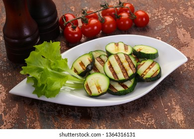 Vegan cuisine - grilled young zucchini