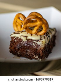 Vegan Desserts Brownie Pretzel Cake Muffin with Frosting Chocolate Pumpkin Vegetarian Sweets Street Food to Go Food Take Out Food Cupcake