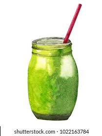 Vegan detox smoothie. Hand drawn recipe of healthy drink made of kiwi, banana and spinach.  Isolated on white.