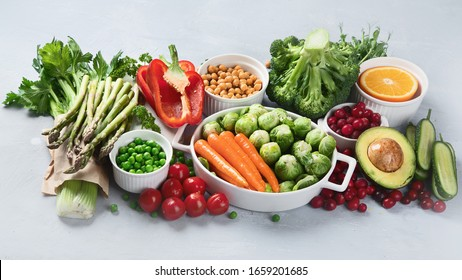 Vegan diet food. Selection of rich fiber sources vegan food.Foods high in plant based protein, vitamins, minerals, anthocyanins, antioxidants.