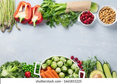 Vegan diet food. Selection of rich fiber sources vegan food.Foods high in plant based protein, vitamins, minerals, anthocyanins, antioxidants. Top view with copy space