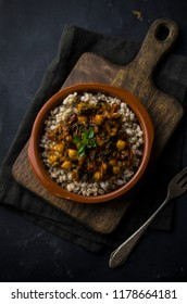 Vegan dish with cereal barley and chickpeas