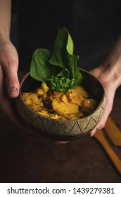 Vegan dish in coconut bowl, cooking, zero waste