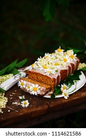 vegan elderflower honey lemon drizzle cake.rustic style.selective focus