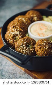 Vegan falafel with rice and hummus