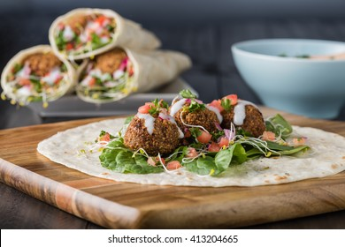 Vegan Falafel Wrap With Salsa and salad