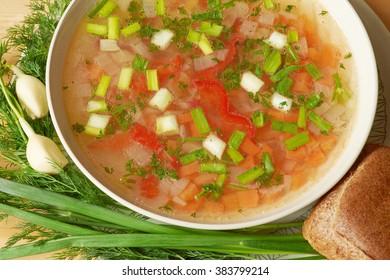 Vegan food. Close-up of freshly made vegetable soup in bowl.