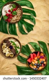 Vegan food in coconut bowls, zero waste