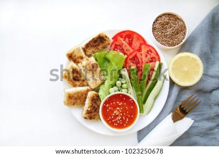 Vegan Food Fried Tofu Vegetables Spice Stock Photo Edit Now