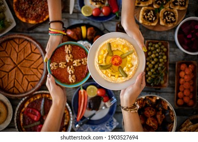 Vegan food hummus on the table. Traditional foods concept.  - Shutterstock ID 1903527694