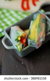 Vegan fresh spring rolls with vegetables