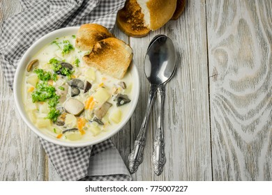 Vegan gluten free cream mushroom soup. Top view, space for text.
