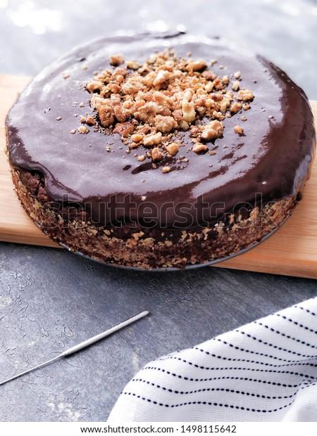 Fantastic Vegan Glutenfree Sugarfree Chocolate Brownie Birthday Stock Photo Funny Birthday Cards Online Elaedamsfinfo