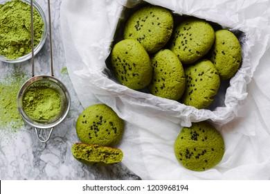 Vegan green cookies with matcha tea