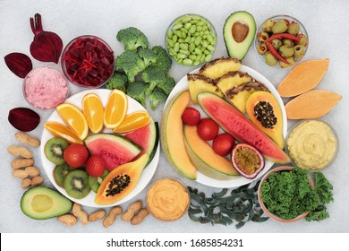 Vegan health food for vitality &  fitness to boost immune system with fruit, vegetables, pasta, legumes & nuts. High in vitamins, minerals, antioxidants, anthocyanins, smart carbs, protein & omega 3.