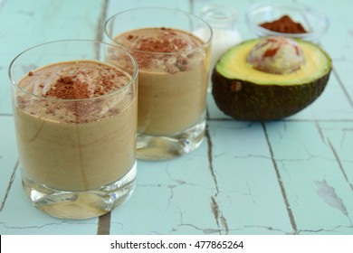 Vegan healthy chocolate avocado smoothie
