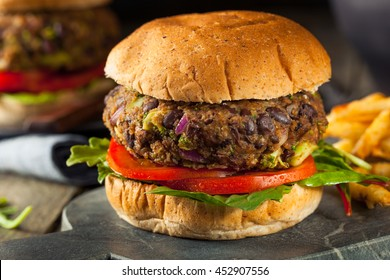 Vegan Homemade Portabello Mushroom Black Bean Burger with Fries